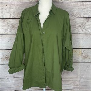 Eileen Fisher Oversized Green Button Up Blouse